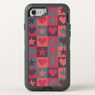 Hearts And Stars Pattern Pink OtterBox Defender iPhone 8/7 Case
