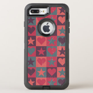 Hearts And Stars Pattern Pink OtterBox Defender iPhone 8 Plus/7 Plus Case