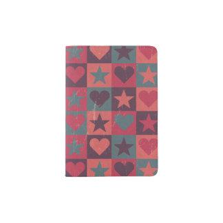 Hearts And Stars Pattern Pink Passport Holder