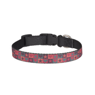 Hearts And Stars Pattern Pink Pet Collar