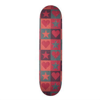 Hearts And Stars Pattern Pink Skate Board Decks