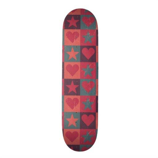 Hearts And Stars Pattern Pink Skate Board Decks