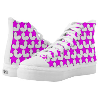 HEARTS AND STARS PINK/WHITE HIGH-TOP SNEAKER