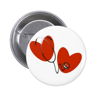 Hearts and Stethoscope T-shirts and Gifts 6 Cm Round Badge