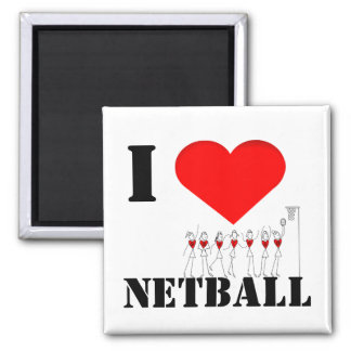 Hearts and Stick Figures I Love Netball Magnet