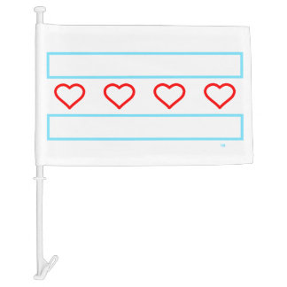 Hearts and Stripes Forever Tech Car Flag