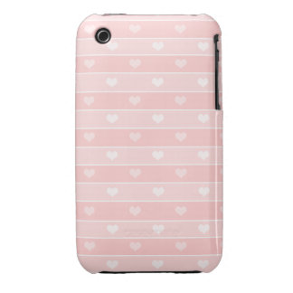 Hearts and Stripes Pink iPhone 3 Case-Mate Cases