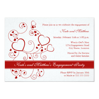 Hearts and Swirls Engagement Party Invitation