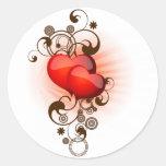Hearts-and-Swirls Round Sticker
