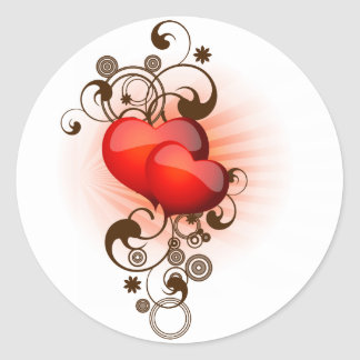 Hearts-and-Swirls Round Stickers