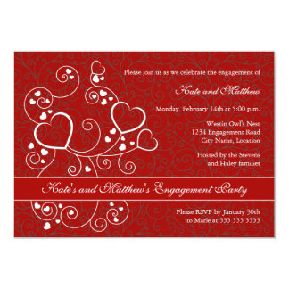 Hearts and Swirls Valentine's Day Engagement Party 13 Cm X 18 Cm Invitation Card