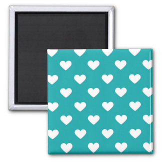 Hearts and Teal Square Magnet