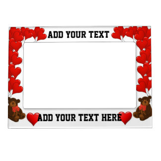 Hearts and teddy bear magnetic frame