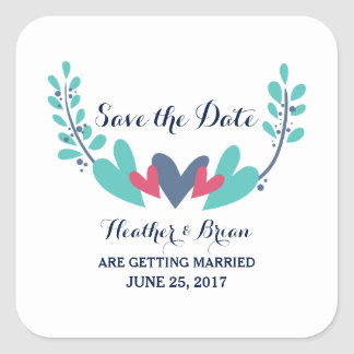 Hearts and Vines Save the Date Stickers