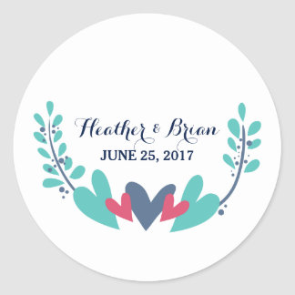 Hearts and Vines Wedding Stickers