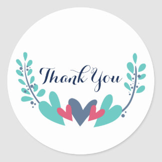 Hearts and Vines Wedding Thank You Stickers
