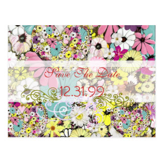 Hearts and Wild Flowers Save The Date Postcard