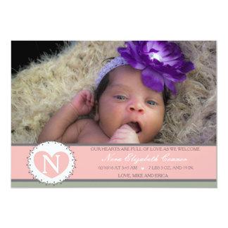 Hearts are Full Baby girl birth annoucment 13 Cm X 18 Cm Invitation Card