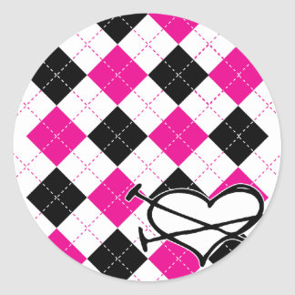 Hearts & Argyle Classic Round Sticker