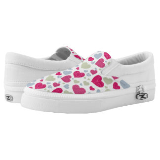 Hearts Background Slip On Shoes