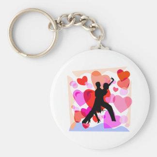 Hearts ballroom dancing basic round button key ring
