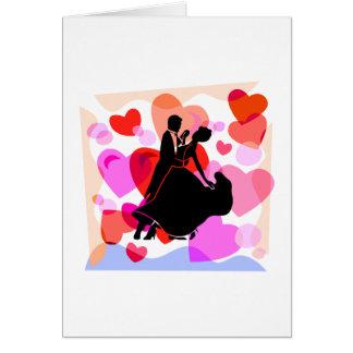 Hearts ballroom dancing greeting card