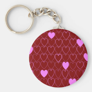 Hearts Basic Round Button Key Ring
