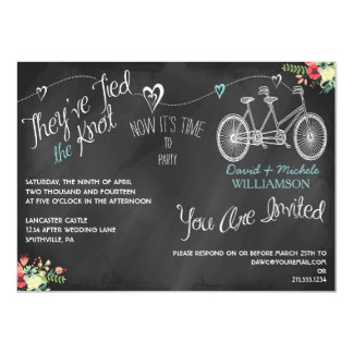 Hearts & Bicycle Chalkboard Post Wedding Invite