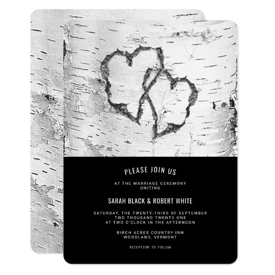 Hearts Birch Tree Bark Rustic Wedding Invitation