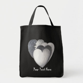 hearts black and white rough sketch original art grocery tote bag