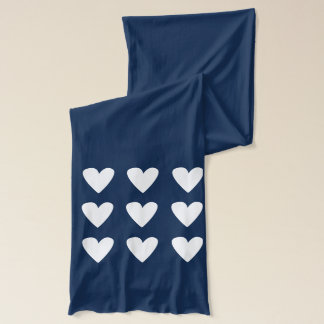 Hearts, Blue, Valentines Day Scarf