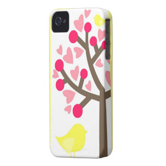 Hearts Cherry Blossom Yellow Bird iPhone 4s Case Case-Mate iPhone 4 Case