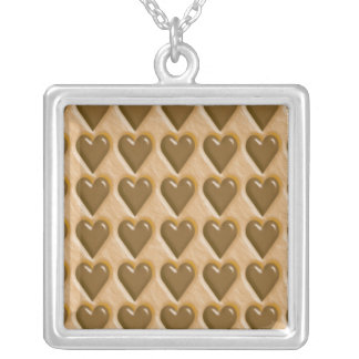 Hearts - Chocolate Peanut Butter Square Pendant Necklace