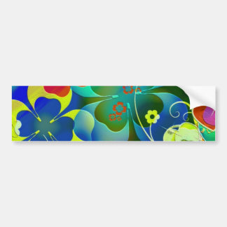 Hearts Clovers and Flowers in Abstract Art Bumper Stickers