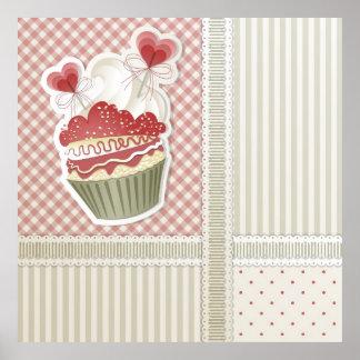 Hearts Cupcake Poster