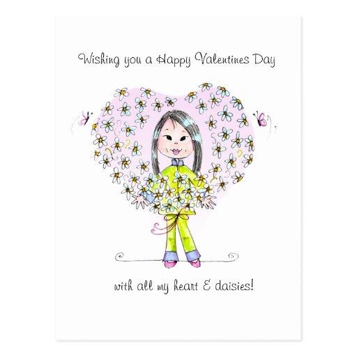 Hearts & Daisies {long hair) Valentine postcard.