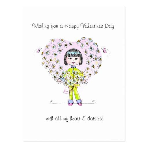 Hearts & Daisies  Valentine postcard