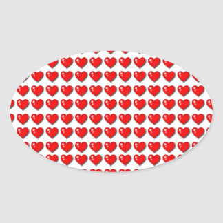 Hearts design oval stickers
