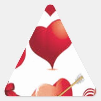 Hearts design triangle sticker