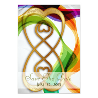 Hearts Double Infinity & Rainbow -Save The Date 9 Cm X 13 Cm Invitation Card