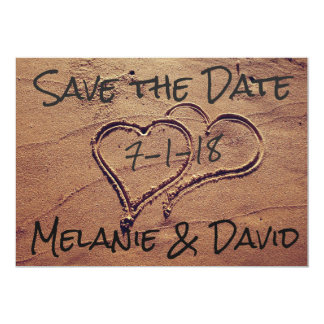 Hearts Drawn in Beach Sand Save the Date Card