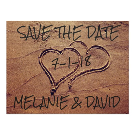 Hearts Drawn in Beach Sand Save the Date
