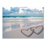 Hearts Drawn in the Sand Postcard