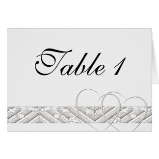 Hearts Entwined with Floral Border in White Silver Greeting Card