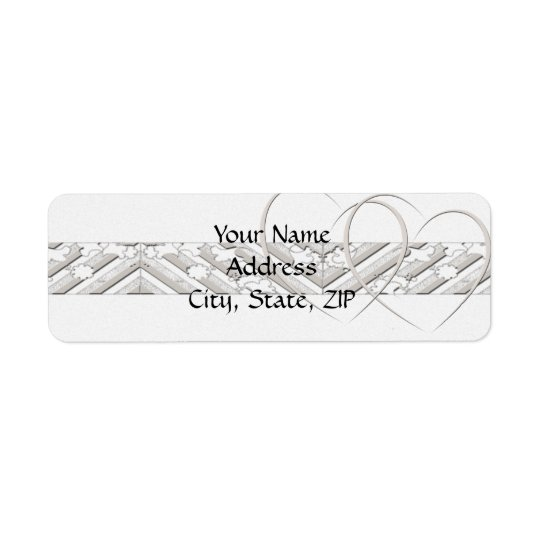 Hearts Entwined with Floral Border in White Silver Return Address Label