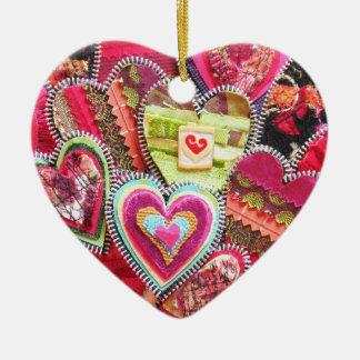 Hearts Fabric Ornament