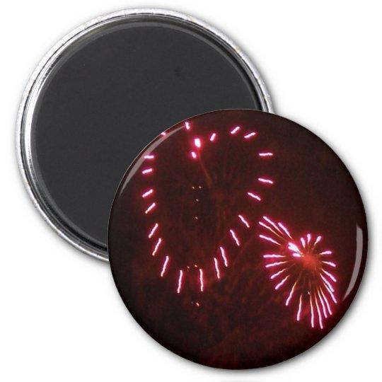 hearts fireworks 6 cm round magnet