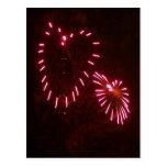 hearts fireworks postcard