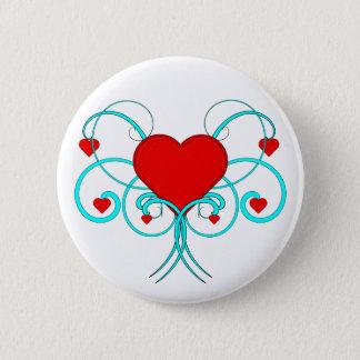 Hearts Flourish 6 Cm Round Badge