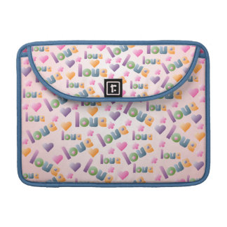 Hearts Flowers and Love Macbook Flap Sleeve